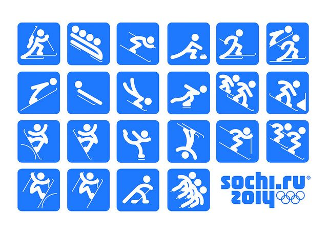 Piktogramme Olympia 2014 Sochi Leitsystem Variante