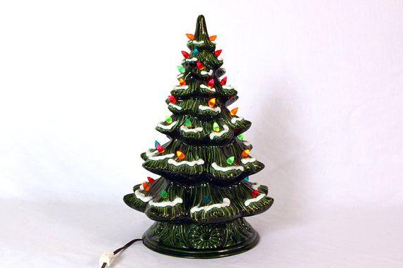 Vintage Large Ceramic Light Up Christmas Tree, Table Top