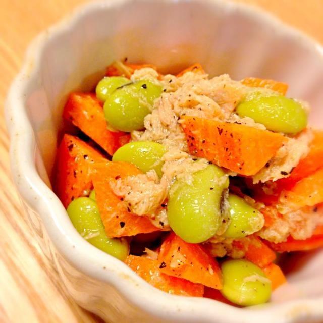 アップ(・ω・)) - 91件のもぐもぐ - 剥き枝豆と人参のツナサラダ by cmry