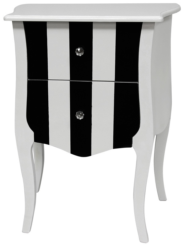 Oriental Furniture 2 Drawer Striped Cabinet in Black and White