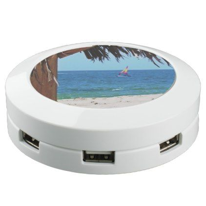 Tropical Beach Colorful Sailboat USB Charging Station - holidays diy custom design cyo holiday family