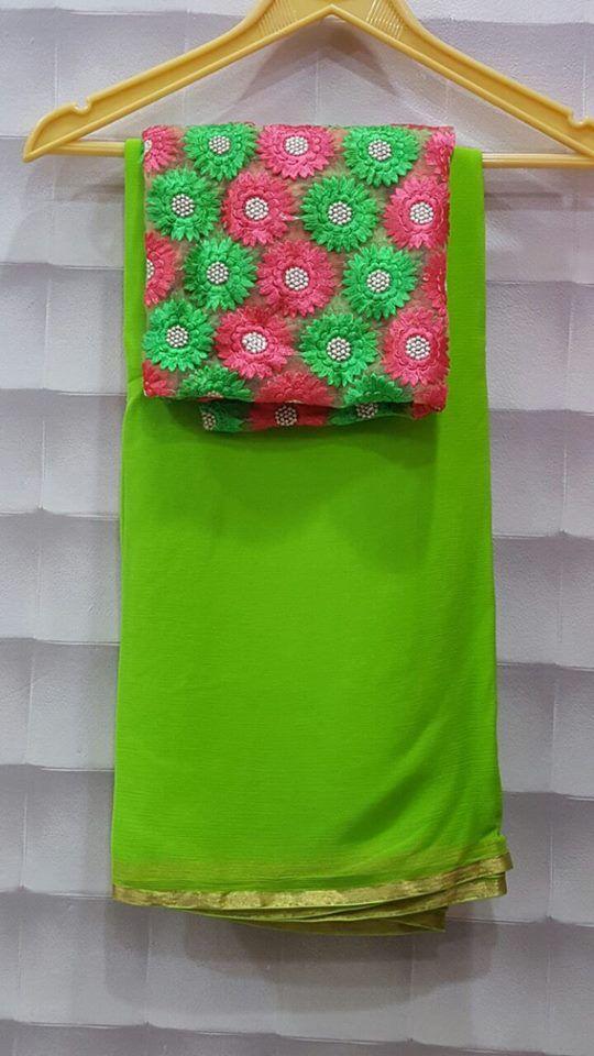 Pure wrinkle chiffon sarees with designer blouses | Buy Online Chiffon Sarees | Elegant Fashion Wear