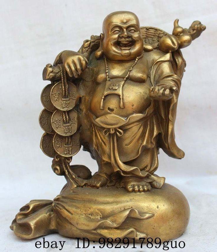 """8"""" Chinese Buddhism Pure Brass Stand bag Happy Laugh Maitreya Buddha Statue"""