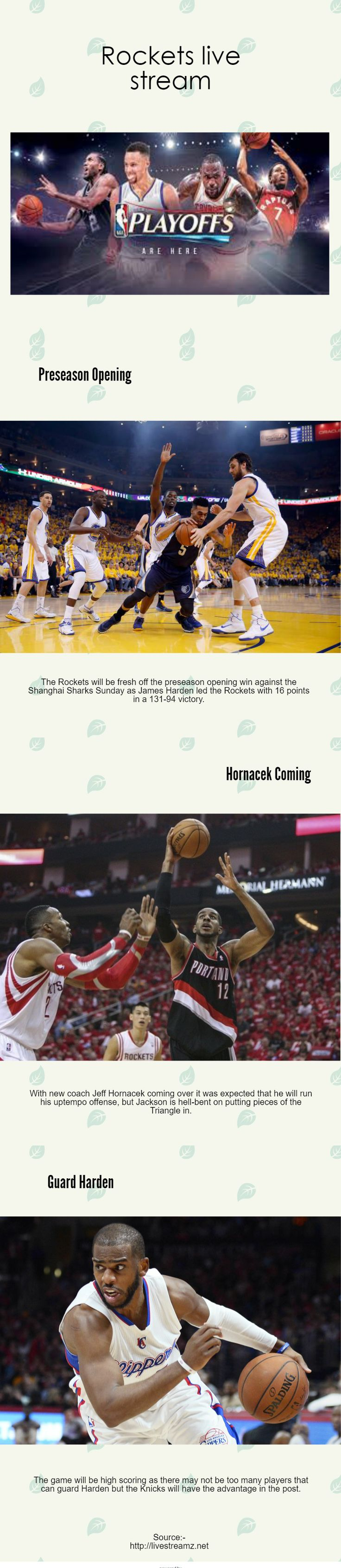 All sports streams on this site are mobile friendly so u can follow your favorite team even if your on the road with your iphone or android. http://livestreamz.net/grizzlies-stream/ #Rockets_live_stream #Grizzlies_live_stream #Spurs_live_stream #tennis_live_stream #premier_league_live_stream #champions_league_live_stream #watch_football_online #football_live_stream