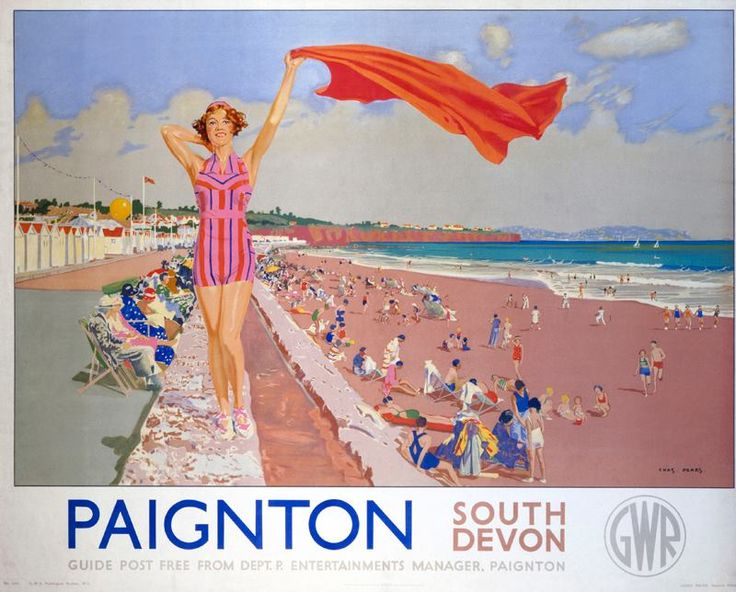 """Paignton , South Devon. Probably the most iconic of all of the Great Western Railway's Posters, this one dated 1938 must have influenced many a holiday maker to come to Paignton. Sadly the war in Europe put an abrupt end to holidays for the Great British public. This 1938 Great Western Railway Poster """"Paignton"""" was painted by Chas Pears."""