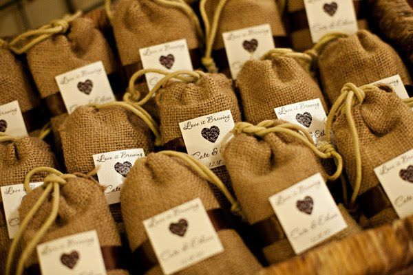 """Love is Brewing"" or ""The Perfect Blend"" burlap favor bags.  http://www.nashvillewraps.com/organza-bags/jute-bags/c-039264.html"