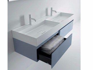 Mueble bajo lavabo doble suspendido con cajones QUATTRO.ZERO | Mueble bajo lavabo doble - FALPER