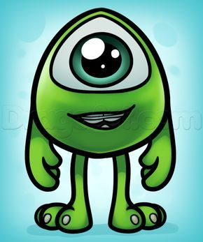 how to draw baby mike wazowski