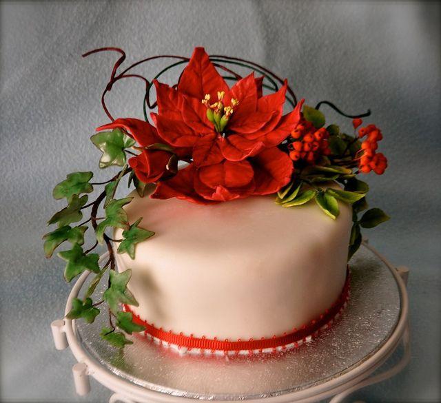 Christmas Cake Decorations Flowers: 13 Best Poinsettia Cake Images On Pinterest