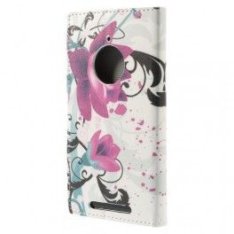 Lumia 830 violetit kukat puhelinlompakko