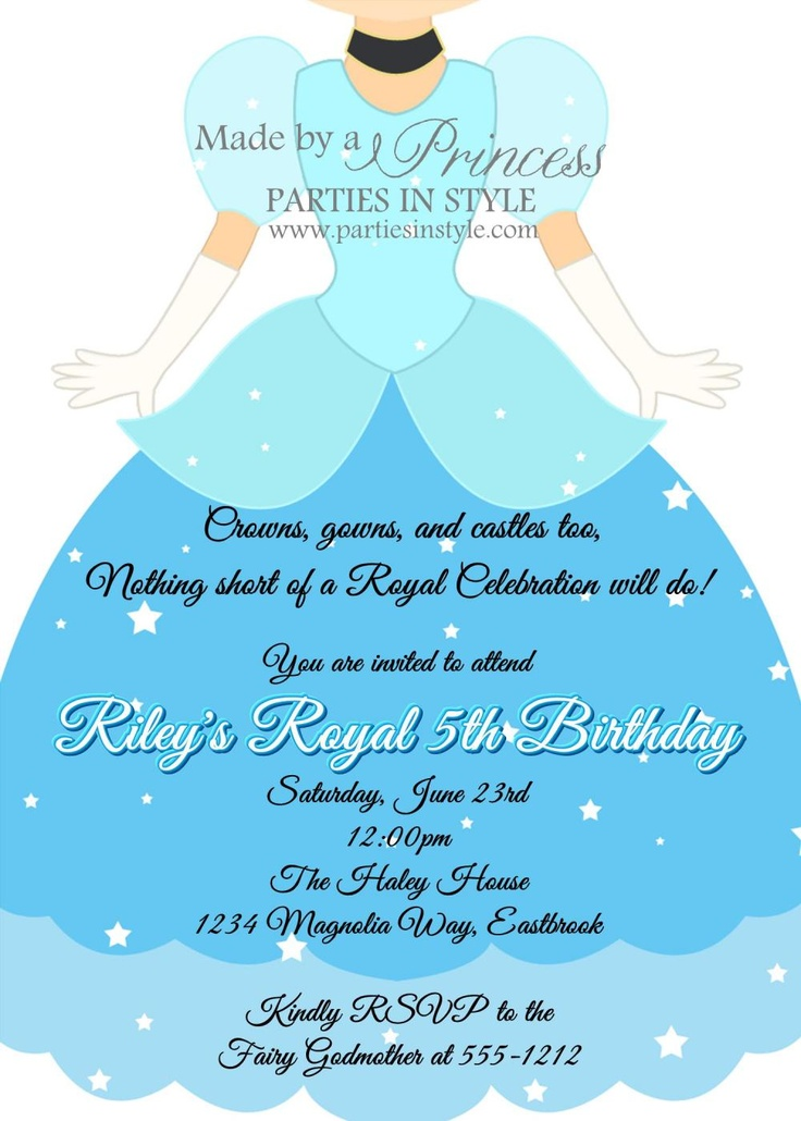 Birthday Invitation - Princess Series Cinderella -