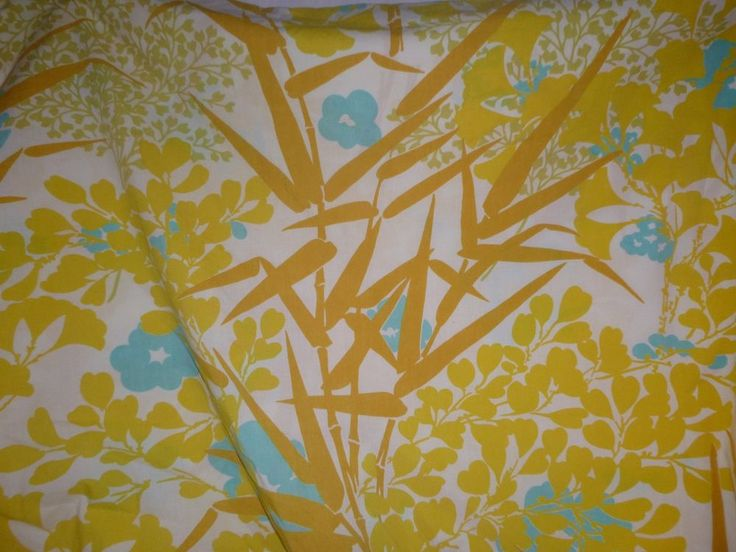 Vtg Burlington Double Full Fitted Sheet Yellow Turquoise Tropical Bamboo Percale