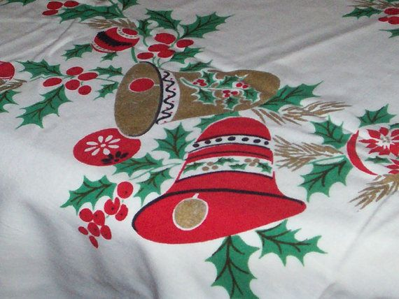 Vintage Christmas Table Cloth Bells Holly by ...