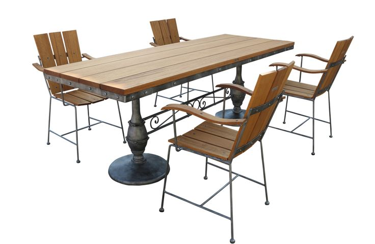 Dining table teak wood top and wrought iron chairs for Salon fer forge catalogue