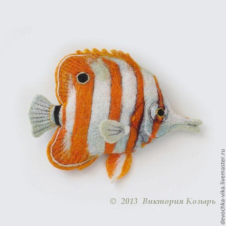 """Купить """"Рыба-бабочка"""" - рыба, рыбка, рыбки, рыбы, море, войлок, украшения ручной работы"""