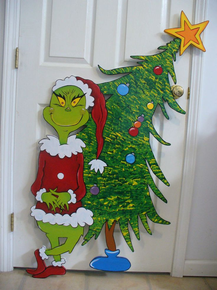 HAND MADE, GRINCH CHRISTMAS YARD ART DECORATION.47'' x 29''