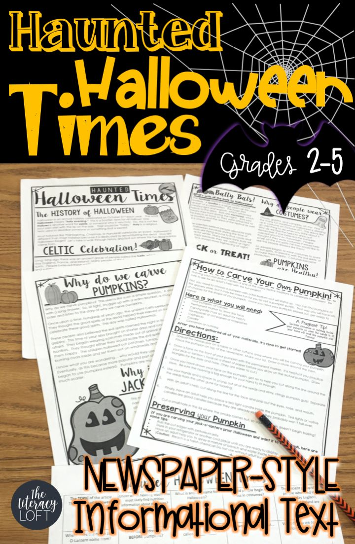 Informational Newspaper-Style text fun twith reading comprehension questions in the form of BINGO, history of Halloween, pumpkins, and traditional folklore surrounding the holiday.