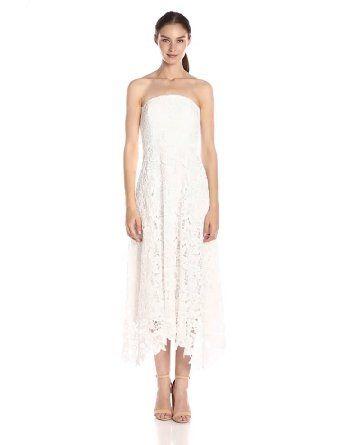 BB Dakota Women's Eleanor Strapless Lace Midi Dress