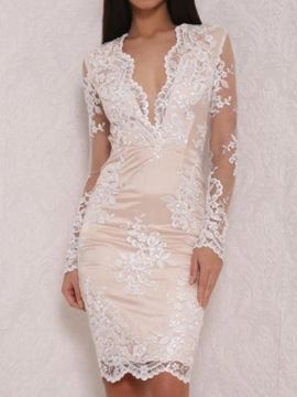 Shop White V-neck Sheer Sleeve Overlay Lace Bodycon Dress from choies.com .Free shipping Worldwide.$24.9