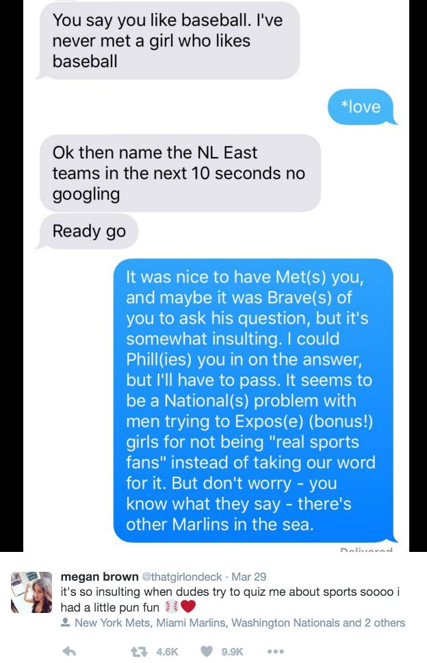 Bros Should Stop Asking Girls To Prove They're Sports Fans, Especially If They Can't Handle the High Heat