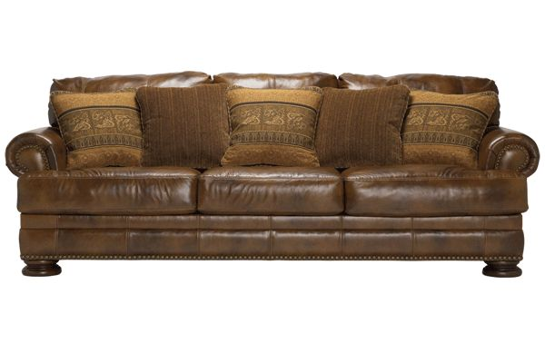 Ashley Furniture leather sofa and love seat -- Ralston - Teak
