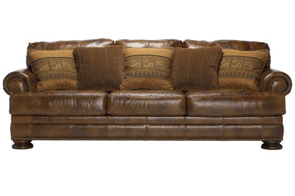 Ashley Furniture leather sofa and love seat -- Ralston - Teak