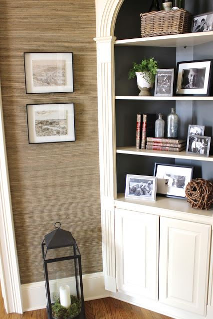 or just painting the back of corner cabinet darker??? Kind of loving this idea- makes everything on the shelves pop