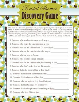 Wedding Shower Guest Discovery Game (Discovery) | Buy at Wedding Favors Unlimited (http://www.weddingfavorsunlimited.com/wedding_shower_guest_discovery_game.html).