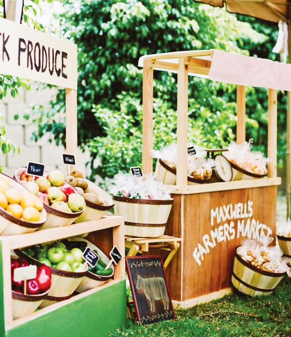 We LOVE this idea for a Farmers Market party! What a fun and wonderful way to teach the kids about being market-smart