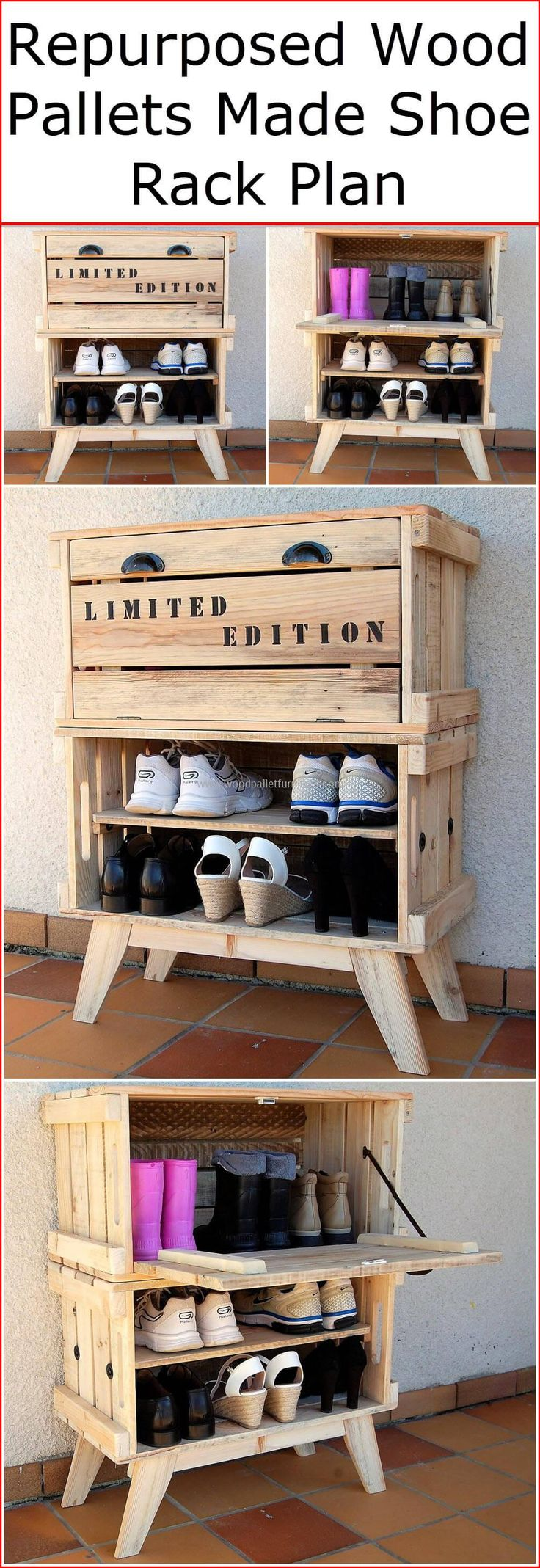 A wooden made shoe racks are a quite useful product so that they have become an essential need of every house. A spacious shoe rack makes you able to place your shoes in an organized way. If you are looking to buy a new wooden shoe rack for your home, then for sure you must be worried about it's high-costs. #pallets #woodpallet #palletfurniture #palletproject #palletideas #recycle #recycledpallet #reclaimed #repurposed #reused #restore #upcycle #diy #palletart #pallet #recycling #upcycling