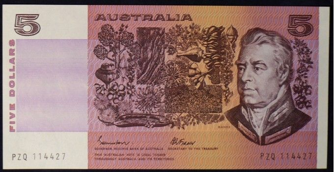 1985 Australia Five Dollars - PZQ - Stunning example of this series of five dollar notes. A great investment for the future. Looks and feels like new. This one with the Gothic No.18 font serial numbers. Additional to this you have the paired numbers of 1144. - See more at: https://www.noteworthy-collectibles.com/australian-banknotes/paper-decimal-banknotes/five-dollars-paper/1985-australia-five-dollars---pzq#sthash.CDQhWIE6.dpuf