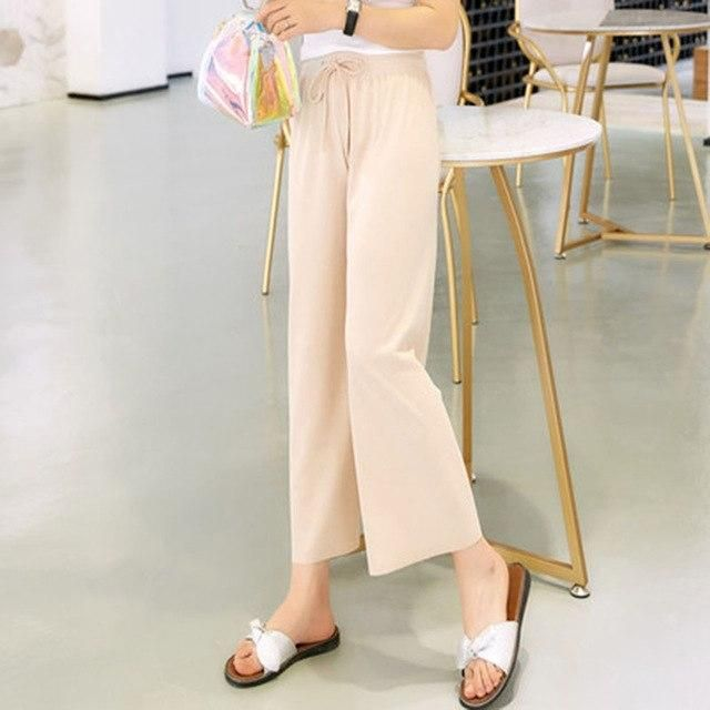 Visnxgi Women Leisure Strappy Pants Elastic Waist Bright Color Summer Spring Chiffon Wide Leg Pants Loose Trousers K298 Rice apr