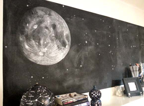 """Out of this world"" -- For her hubby's astronomically themed birthday, Hydrangea Girl, who apparently has MAD chalk skills, ""gave him the moon, or as best as I could draw it on our chalkboard wall ..."" Click through for more clever decorating in that theme."
