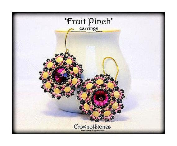 *P Bead pattern PDF earrings 'Fruit Pinch' with by CrownofStones
