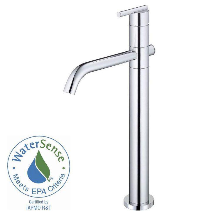 Danze Parma Single-Hole Single-Handle Mid-Arc Bathroom Vessel Faucet in Chrome 553647