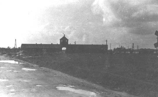 Entrance to Auschwitz, January 1945.