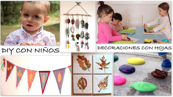 DIY niños / 3 manualidades con hojas: Lienzos, banderines y móvil