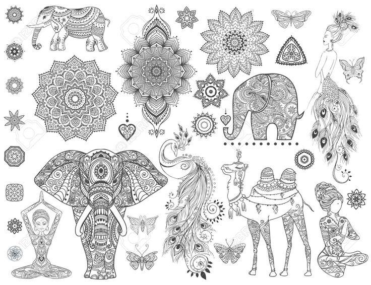 Zier Set Mit Tier, Mandala-Vektor. Element Für Den Entwurf Und Die Erklärung…