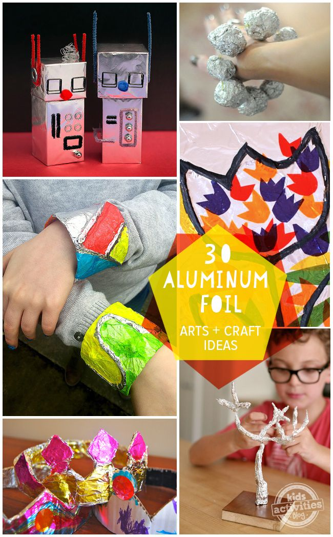 So many fun aluminum foil crafts and art activities.