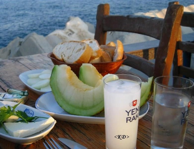 "Raki - Turkish vodka -What the locals drink. ""You are fine until you stand up"" drink. ;)"