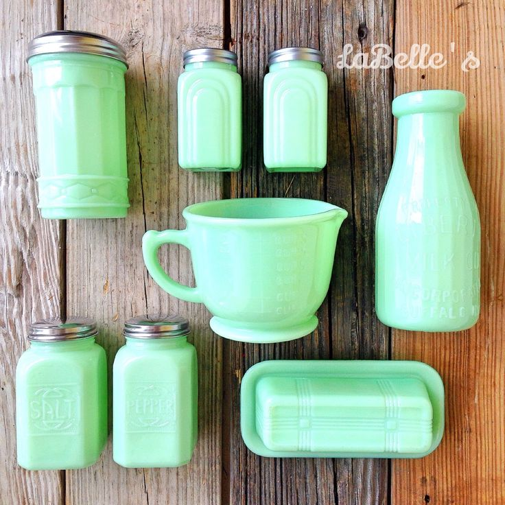We've just re-stocked our shelves with delicious mint-green reproduction Jadeite Milk Glass. Yum.