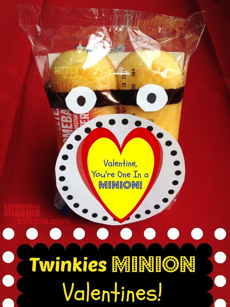 Print this Free gift tag to make Twinkies Minion Valentines!  Perfect for a fun Valentine's Day treat.