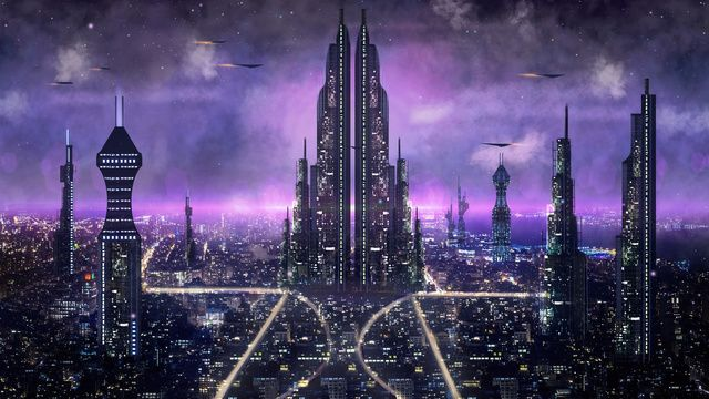 Science Fiction City Night View Good World Banner H5 Map Future City Illustration Image On Pngtree Free Download On Illyustracii S Gorodom Illyustracii Fantastika