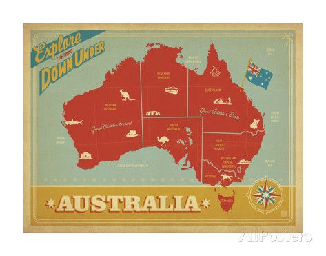 Explore Australia, The Land Down Under Poster by Anderson Design Group at AllPosters.com