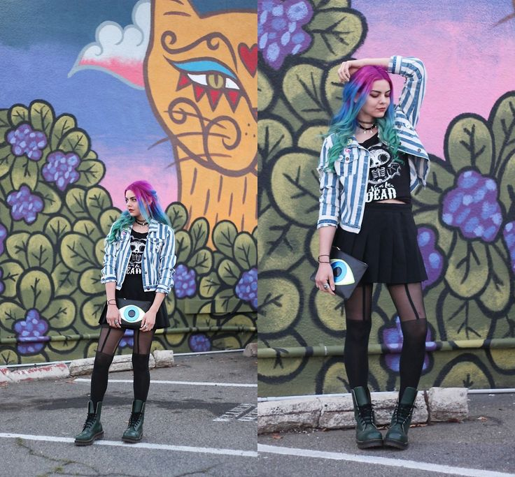 Mickylene Delgado - Poppy Lissiman Evil Eye Clutch, Skelanimals Viva La Dead Tee, Dr. Martens Green 1460 Smooth - Be Art, Be Expressive