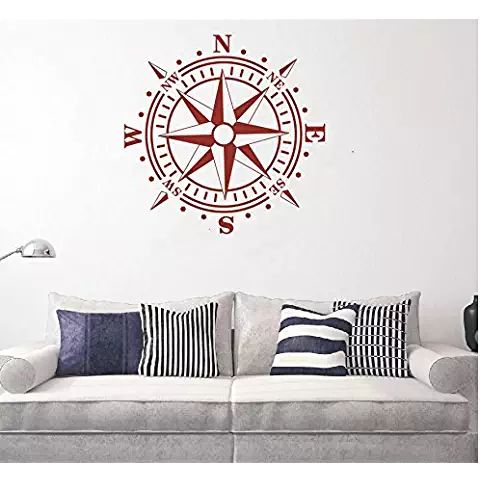 Wall Decal Removable Nautical Compass Kids Boys Room Decor Vinyl Wall Sticker Carving Children Bedroom Sailor Compass Mural NY-438 (Dark Red, 57x57cm)
