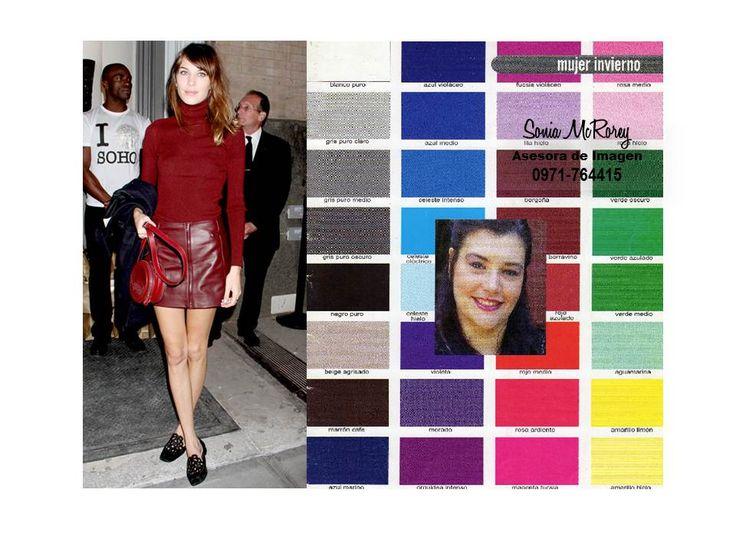 Ejemplo de Mujer Invierno, con la paleta general de colores, esta estacion se sub-divide en: Invierno Profundo o Oscuro, Frio y Brillante