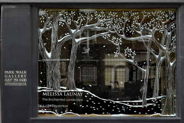 Beautiful window drawing.  Chalk markers would make this easy to do!