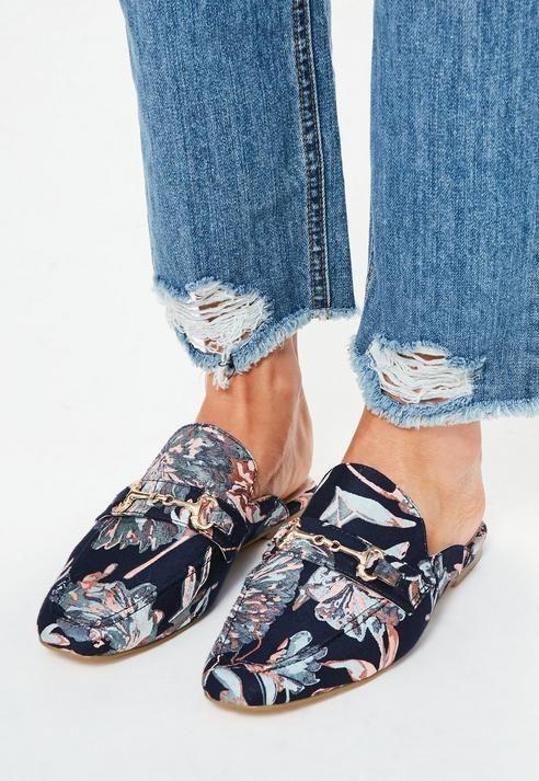 Missguided Navy Jacquard Print Mules