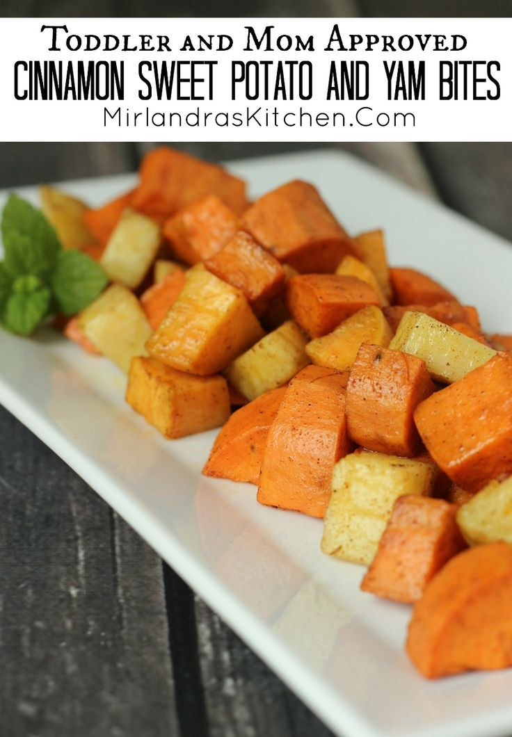Hot or cold my toddler and all his friends love these healthy cinnamon sweet potato and yam bites. I cook a bit batch once and serve them all week long.  They are popular with older kids and adults too!